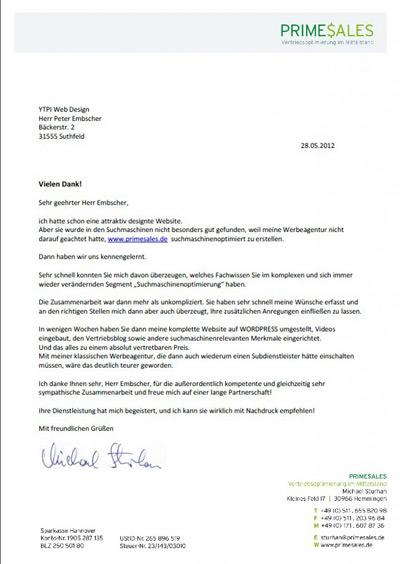 YTPI Internetagentur Referenzschreiben | YTPI Internetagentur
