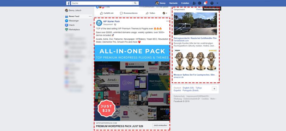 Native Anzeigen im Facebook Feed