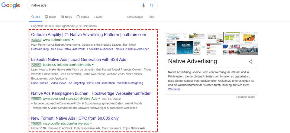 Native Werbung in den Google Suchergebnissen